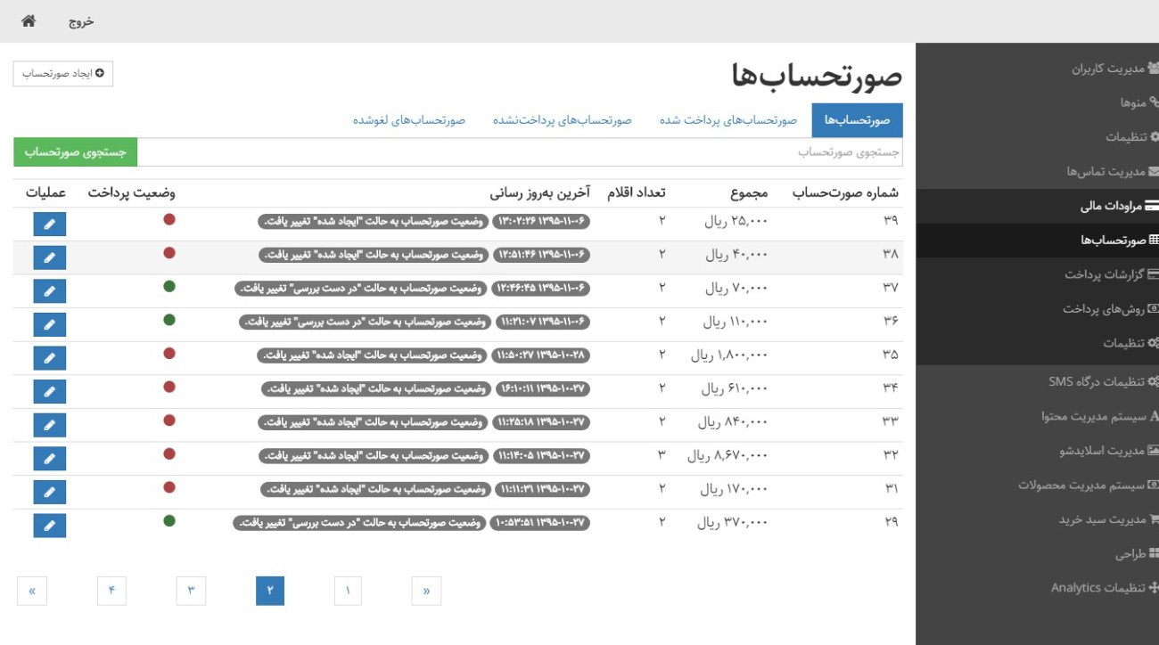مدیریت صورتحسابها -پکیج کارآفرین